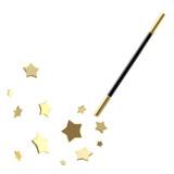 Fototapety Black magic wand with stars isolated