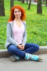 Relaxing ginger girl on skates