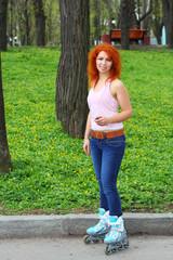 Ginger girl on roller skates