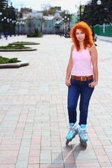 Ginger girl on roller skates