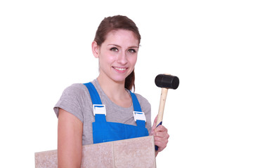 Woman tiling