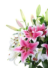 Pink and white lily bouquet closeup
