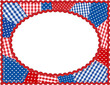 Patchwork Frame, gingham, polka dot, rick rack, red, white, blue