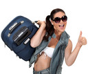 Happy woman going on holiday