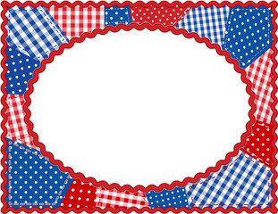 Patchwork Frame, gingham, polka dot, rick rack, red, white, blue