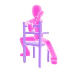 pink person sitting C
