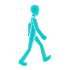 blue person walking right