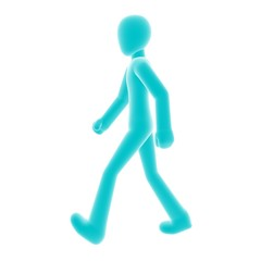 blue person walking left A