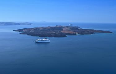 The volcano of Santorini island in Greece