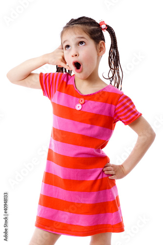 Girl gesturing talking on telephone