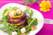 Beetroot and orange salad with goat cheese and walnuts