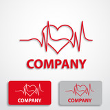Stylized logo with heart, cardiologist # Vector