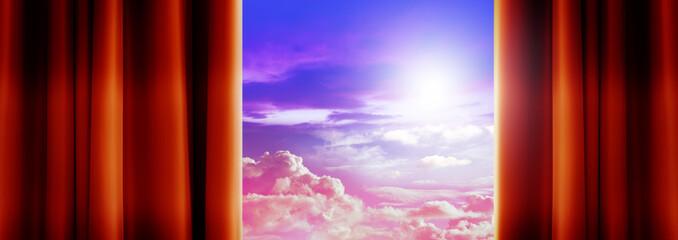 dreamy sky behind curtains