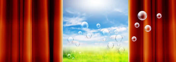 bubbles floating curtains