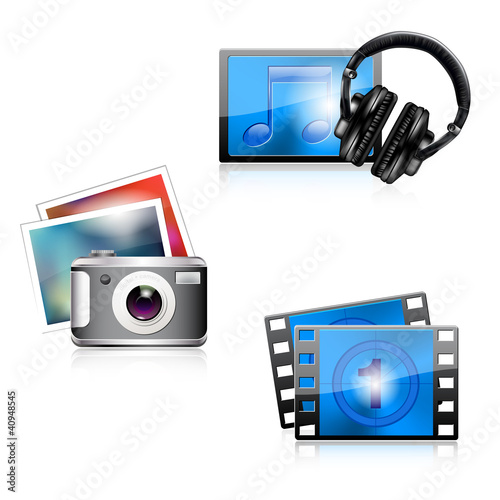 Set of glossy media icons - photo/music/video. Vector file.