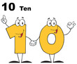 Number Ten Cartoon Character With Text