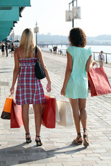 two young women holding carton bags and walking on a wharf