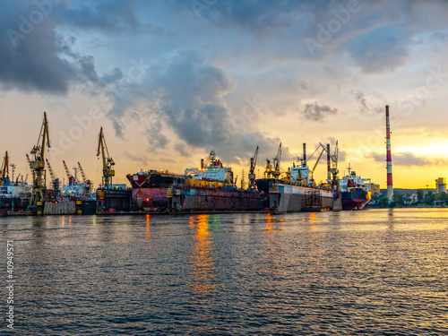 Shipyard of Gdansk at sunset, Poland.