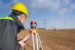 Leinwanddruck Bild - Geodesist measure land speak transmitter