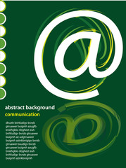 page layout with at sign symbol on green background