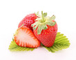 strawberry and leaf isolated