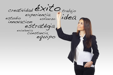 beautiful businesswoman writing business spanish words