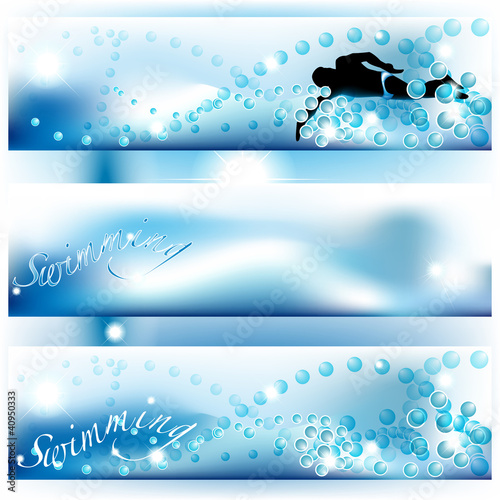 Set of 3 swimming banners