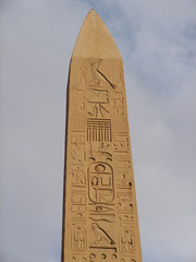 The huge obelisk at the entrance to Luxor Temple in Egypt.