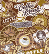 Coffee labels seamless pattern