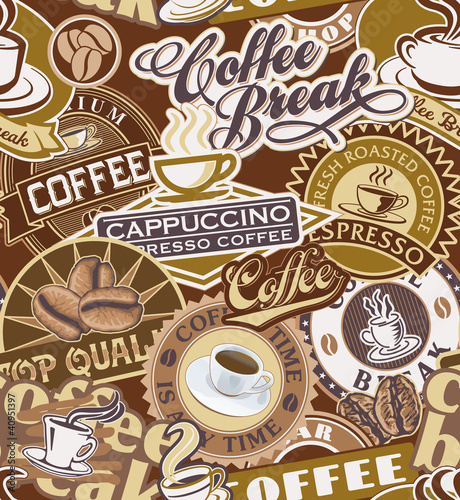 Sticker Coffee labels seamless pattern