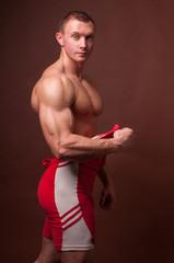 Model in running suit