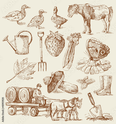 farm-hand drawn set