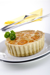 freshly baked quiche with carrots