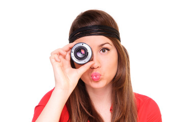 young woman with a lens