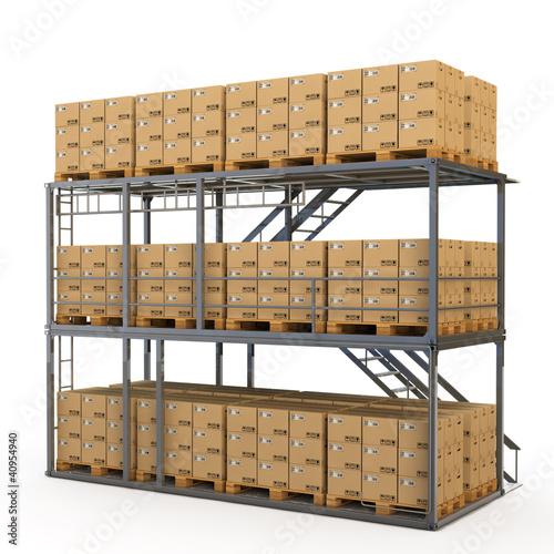 Warenlager mit Kartons