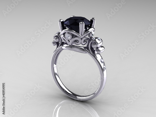 Black Diamond White Gold Antique Engagement Ring