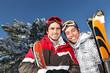 Two men on skiing trip