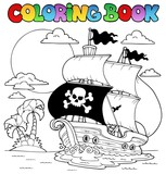 Coloring book with pirate theme 7 - 40956186