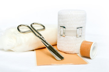 First aid bandage and scissor