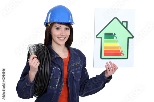 Electrician with an energy rating card