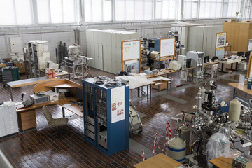 Interior of nuclear laboratory with electronic  devices