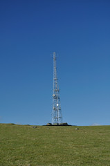 Communications mast in countryside