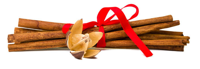 Composition of spices with cinnamon sticks isolated on white