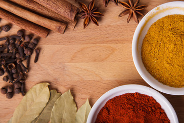 Frame composition of spices on wood,anise,cinnamon,laurel