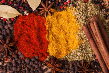 Closeup of spices composition, anise, , paprica, curry, pepper