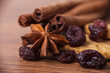 Closeup of cinnamon sticks and chocolate