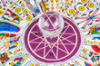 Tarot cards arranged in circle with a magic ball in the center.