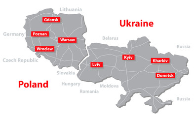 Poland and Ukraine vector map