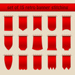 Set Of 15 Red Retro Banner Stitching Beige Background