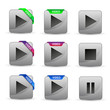 set of glossy video play buttons with colourful ribbons